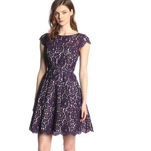 Eliza J Cap Sleeve Purple Lace Fit and Flare Dress